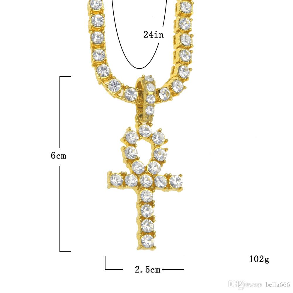 Egyptian Anhe Key Bling Rhinestone Crystal Pendant European Style Hip Hop Jewelry Men & Women Necklace Punk Masonry Pendant Chain