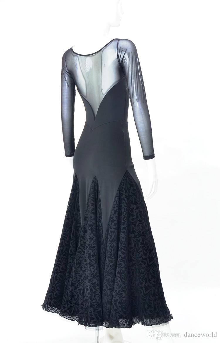 großhandel schwarzer spitze flamenco kleid spanischer tanz kostüm  gesellschaftstanz wettbewerb kleider gesellschaftstanz kleider walzer tango  kleid