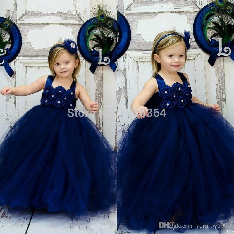 Spaghetti Ball Gown Flower Girls Dress Piano Lunghezza Tulle Blu Navy con fiore fatto a mano bambino usura formale in rilievo Shiny Evening Party Gowns