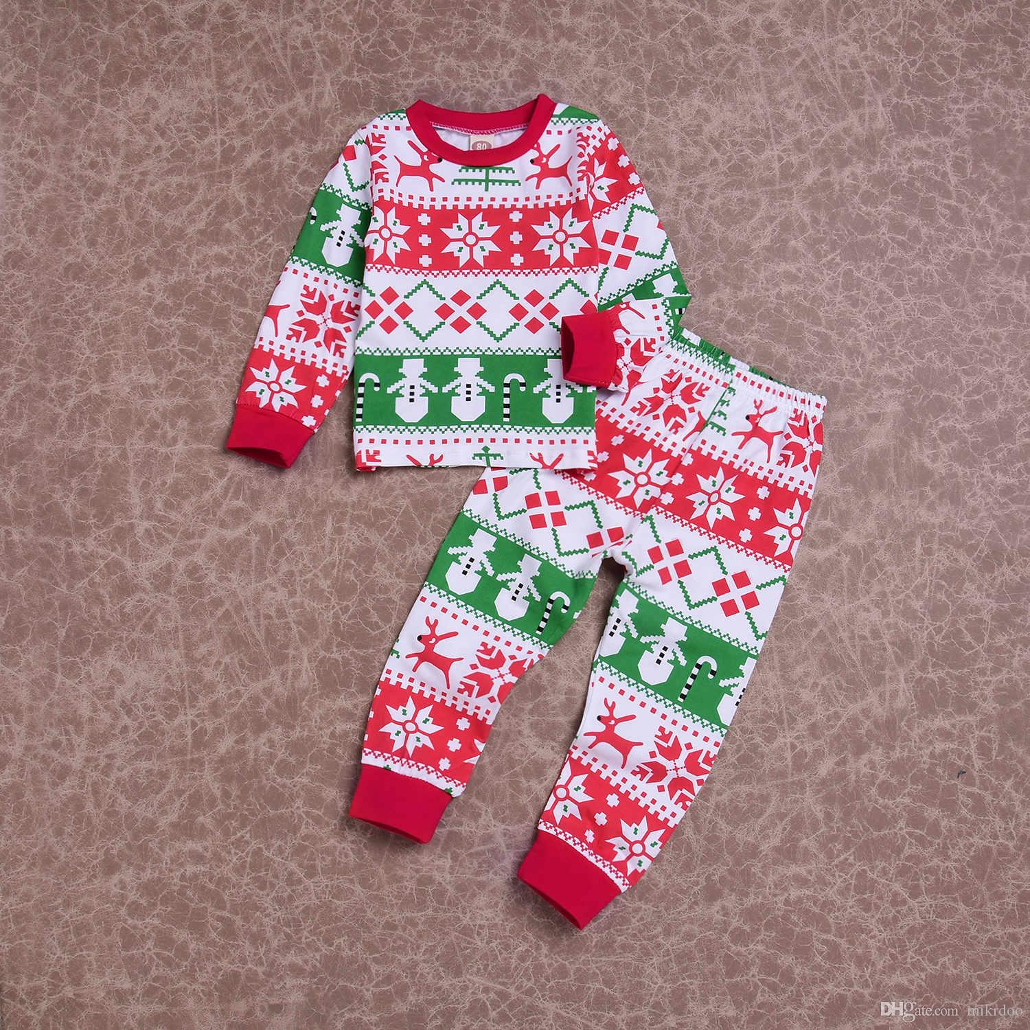 Mikrdoo Christmas Toddler Baby Boy Girl Pajamas Outfits Kids Cotton Homewear Sleepwear Clothing Set For Age 1-6T