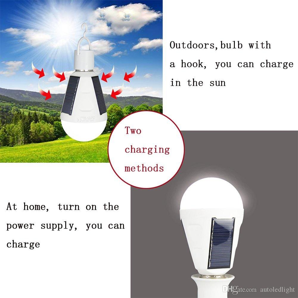 Portable Solar light bulbs powered off light up sunlight charged touch light input water can be bright bulb waterproof IP65 E27 85-265V