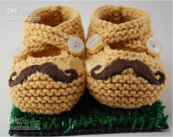 Spring Autumn Baby Boys Girls 100% Handmade Crochet Beard Loafers Infant Newborn First Walkers Shoes Kids Booties Mustache Shoes Soft Sole