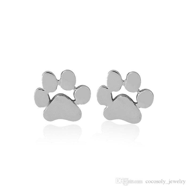 New Fashion hollow pet cat dog lover paw print stud earrings Puppy Memorial Minimalist earring cute animal footprint gold silver plated earr