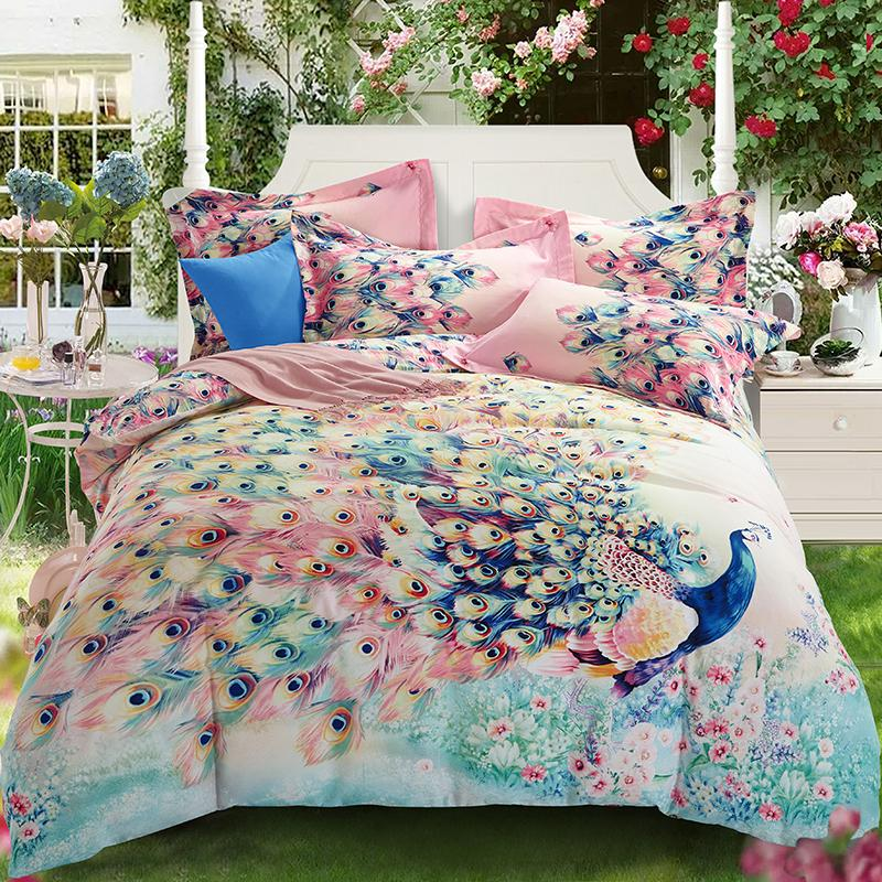 beauty designs 100% cotton 40*40/133*72 reactive print bed sheet bed linen four pieces red blue queen purple blue color rousiman