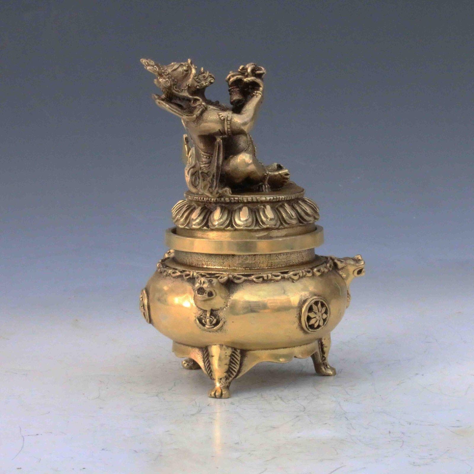 Chinese Brass Handwork Carved God Buddha Incense Burner & Lid M0053