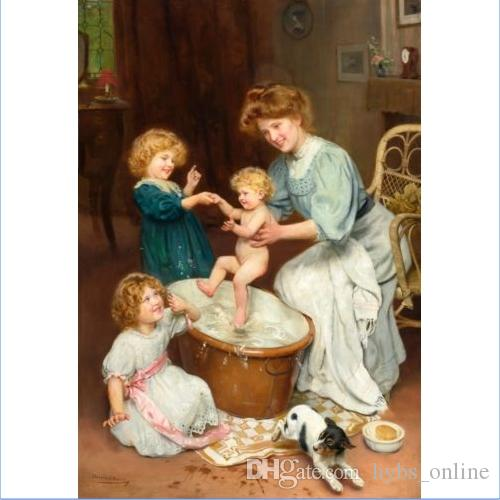 Framed BABY\'S BATH TIME by ARTHUR JOHN ELSLEY Handpainted Classical ...