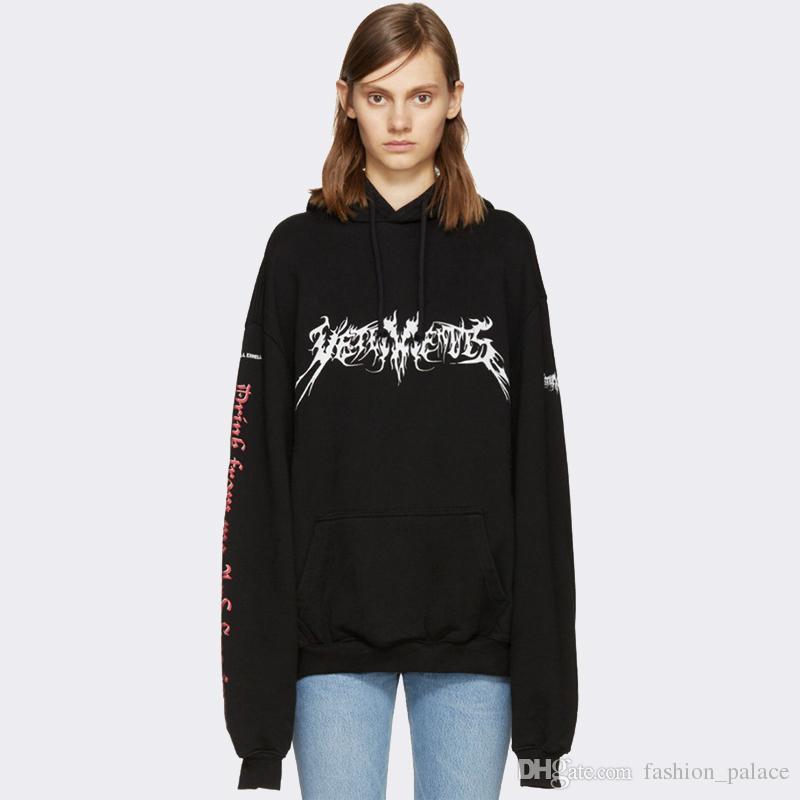 f20480bab59161 2019 Vetements Black Hoodie Men Hip Hop Streetwear Graphic Print Oversized  Hooded Sweatshirt Winter Coat Women Men YJH1101 From Fashion palace