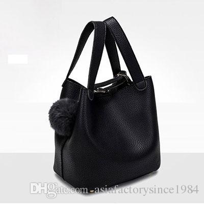 b99f3b71dc8d Top Handle Women Bags Fashion Pu Women S Leather Handbags Black Women Bag  Tassel Fur Bag Ball High Quality Small Bucket Bags Sac Bags For Sale  Handmade ...