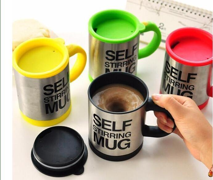 Patent Quality Automatic Coffee Mixing Cup / Mug Drinkware Stainless Steel Coffee Cup Self Stirring Electric Mug Button Pressing