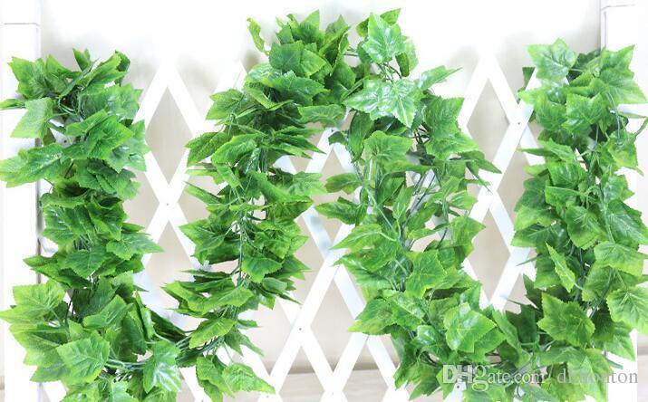 90 hojas 2,4 m de hojas de uva verde artificial Otros Boston Ivines Ivines Decorados Fallo de flores Caña al por mayor Envío gratis HH08