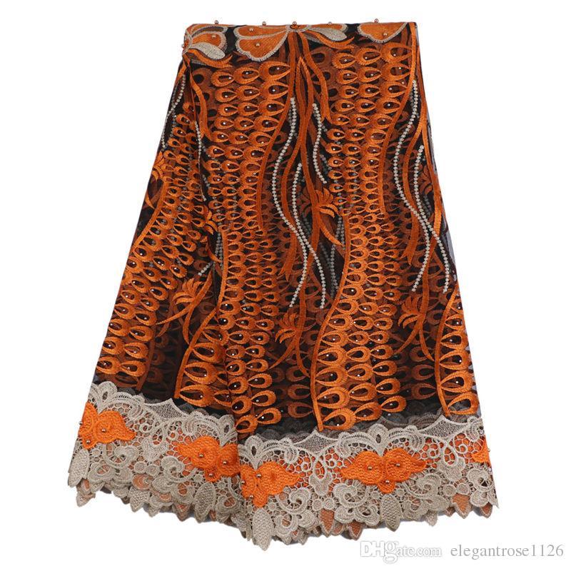 Лучшие продажи швейцарский вуаль кружева Африканский кружевной ткани золотой цвет нигерийский французский ткань 2017 высокое качество Африканский тюль кружевной ткани GYNL93