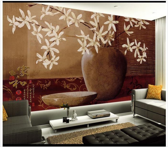 3D الجداريات الجدار خلفية صورة مخصصة جدارية 3DVase زهرة المنزل وغنية الكلاسيكية خلفية 3D جدارية خلفية الحرة الشحن