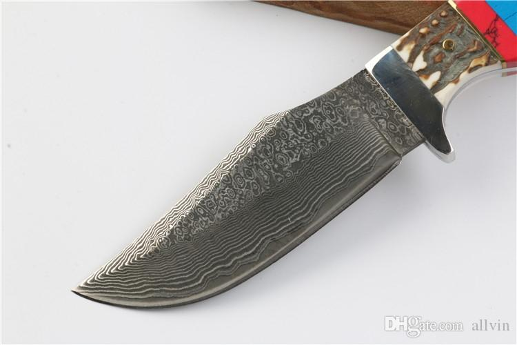 Top Quality Damascus Bowie Blade Hunting Knife Outdoor Camping Hiking Survival Straight Knives Fixed Blade Knife With Leather Sheath
