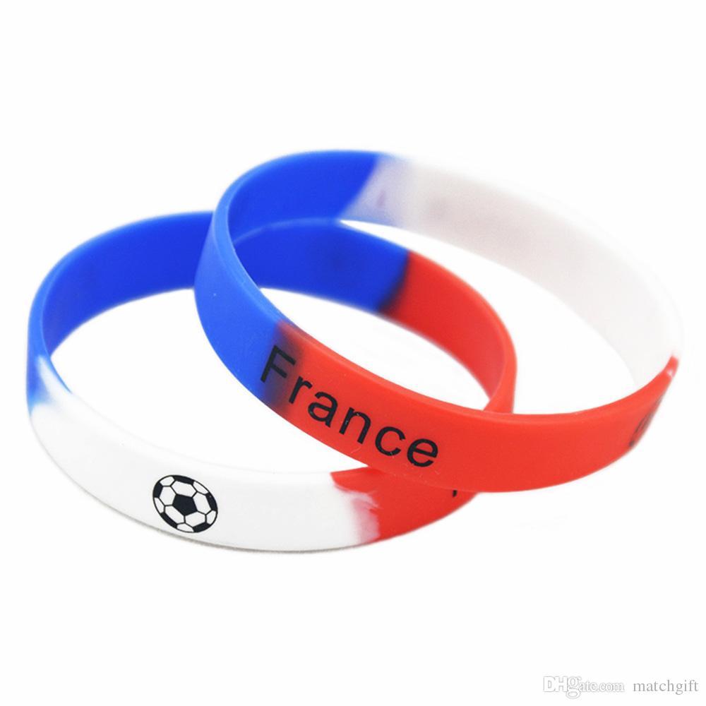 Wholesale Printed Bangle Football Team Silicone Rubber Wristband Sport Bracelet Brazil Portugal Spain Frane