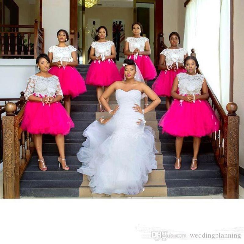 Plus Size Vestido De Dama De Honra Africano Jóia Curta Mangas Compridas Com Applique Lace Wedding Length Wedding Guest Zipper Voltar