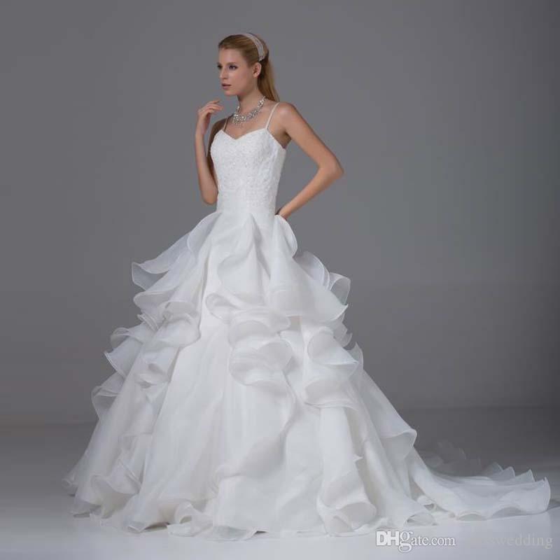 Spaghetti Straps Ruffled Organza Bridal Dress With Beaded Appliques ...