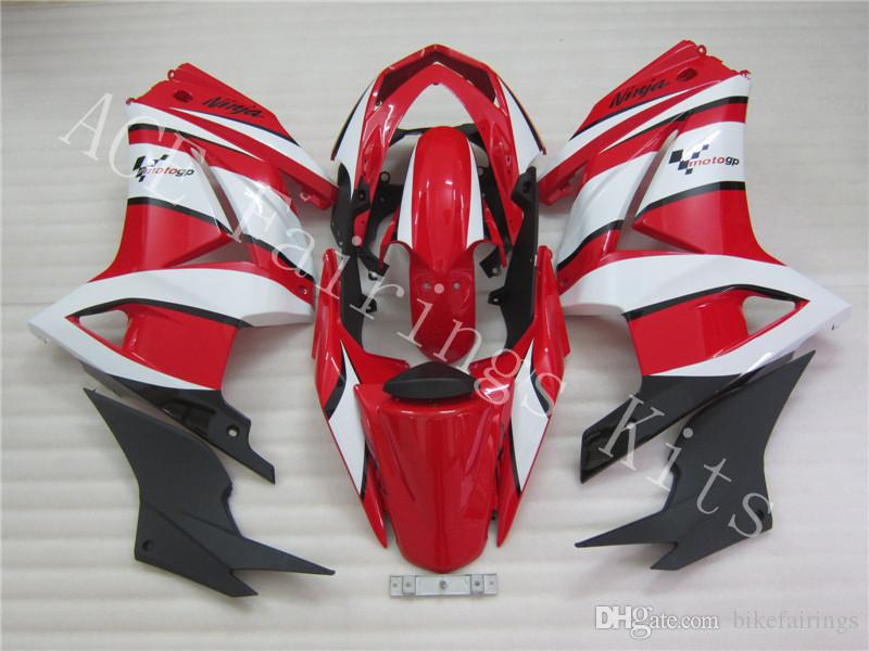 Three free beautiful gift and new high quality ABS fairing plates for kawasaki Ninja250R 2008-2012 Very beautiful red and white