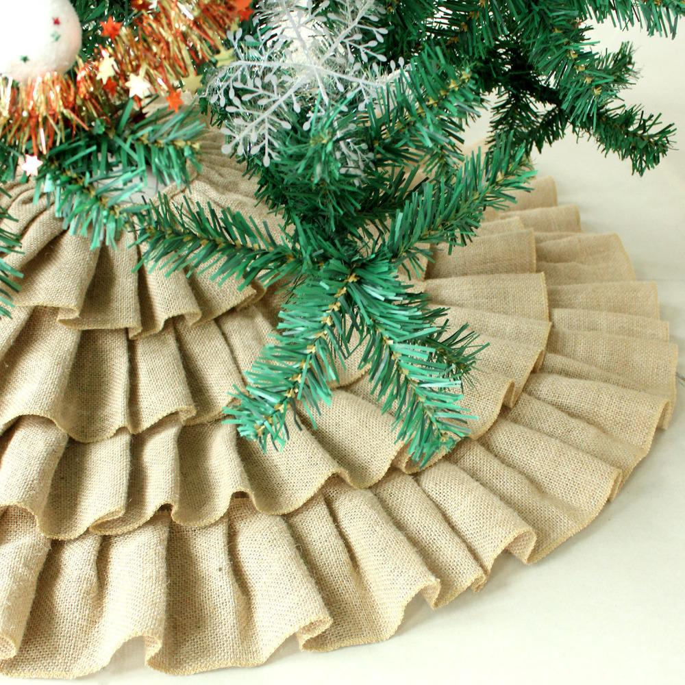wholesale ruffler jute burlap christmas tree skirt extra large 60 diameter red border decoration p2784p2785p2786 border middle decorative border art - Burlap Christmas