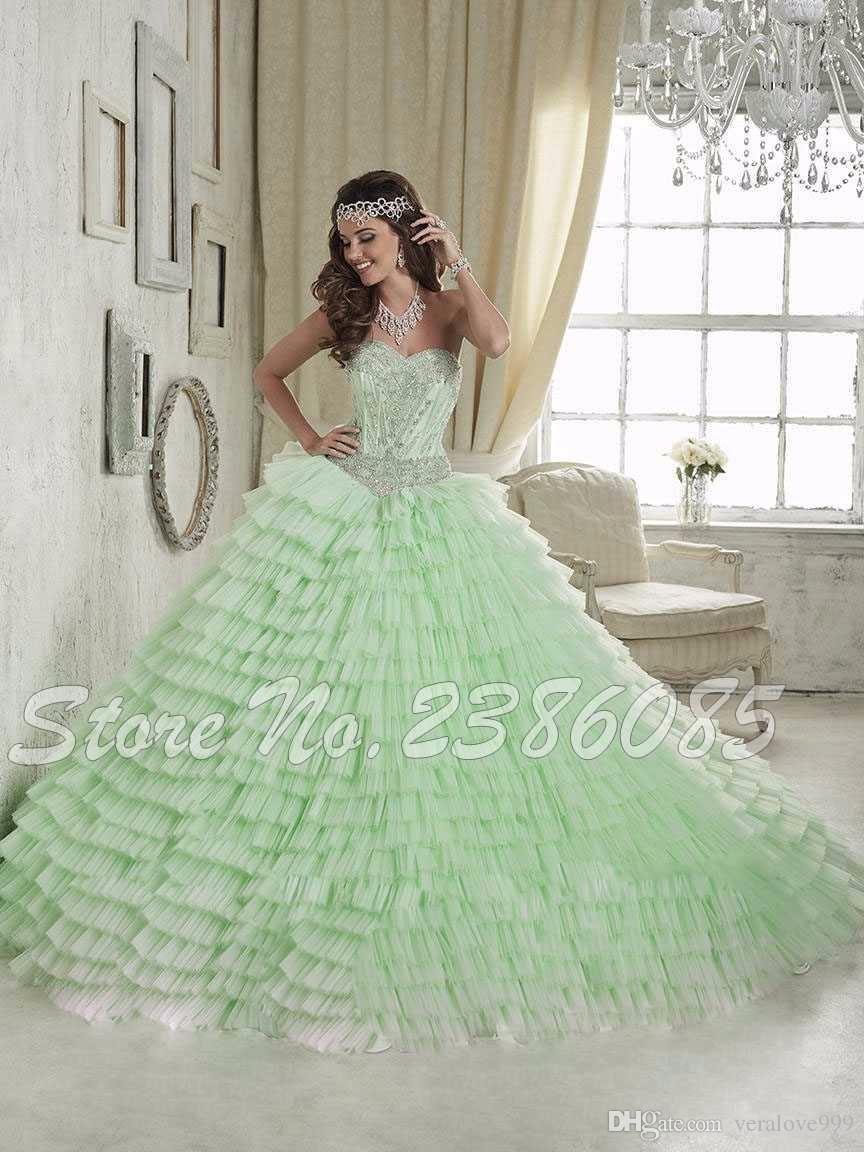 2017 Light Green Ball Gown Quinceanera Dresses Tulle With Beaded ...
