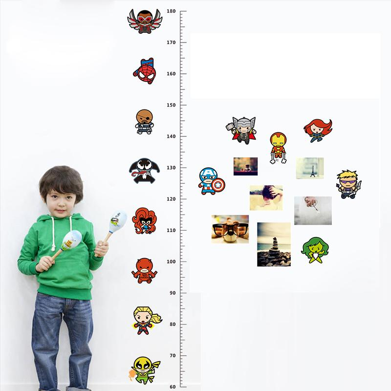 Avengers Height Measure Chart Wall Stickers For Kids Rooms Decals Art Children Room Decoration Poster Cartoon Boy's Gift
