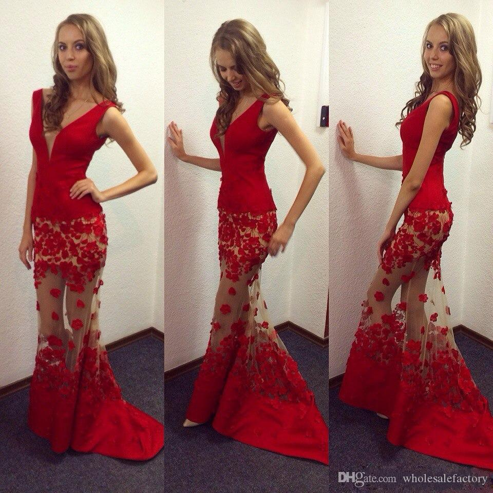 Hot Red 3D Appliques Flora Prom Dresses Mermaid Illusion Look V Neck Long  Evening Gowns 2017 Custom Made Robe De Soriee Long Elegant Dresses Long Prom  ... e6038a8bf8a3