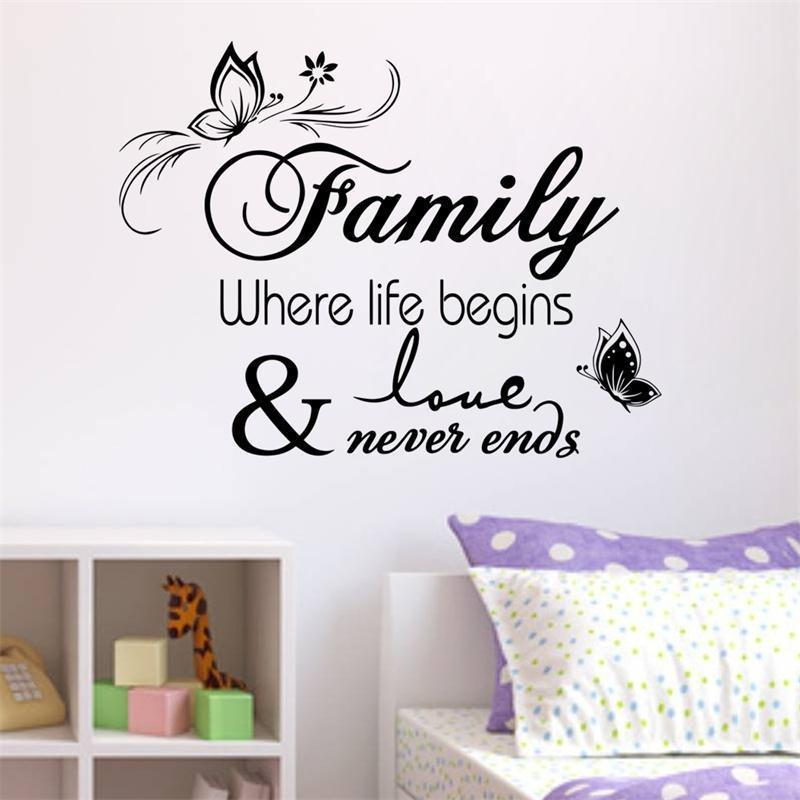 Family Where Life Begins Butterfly Wall Stickers Vinyl Wall Stickers Home  Decor Waterproofing Can Be Customized Wall Sticker ^u0026 Vinyl Wall Stickers  Quotes ... Part 33