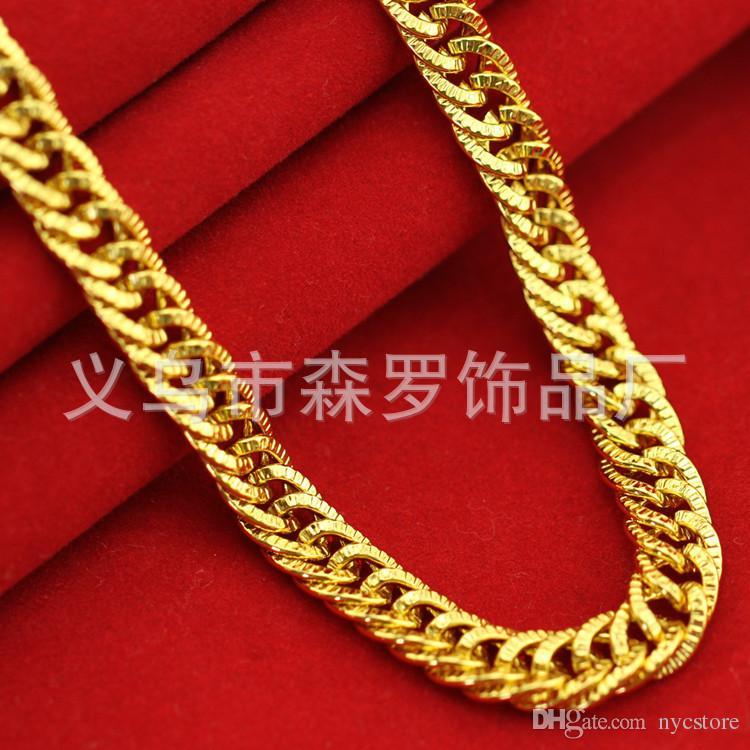 18 Karat vergoldete Halskette für Mann verdrehte 6mm Perlen Goldketten