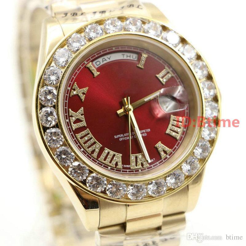 ee93a25e15806 Acheter Marque De Luxe Or Président Jour Date Diamants Montre Homme  Inoxydable Nacre Cadran Diamant Lunette Automatique Montre Bracelet AAA  Mens Montres De ...