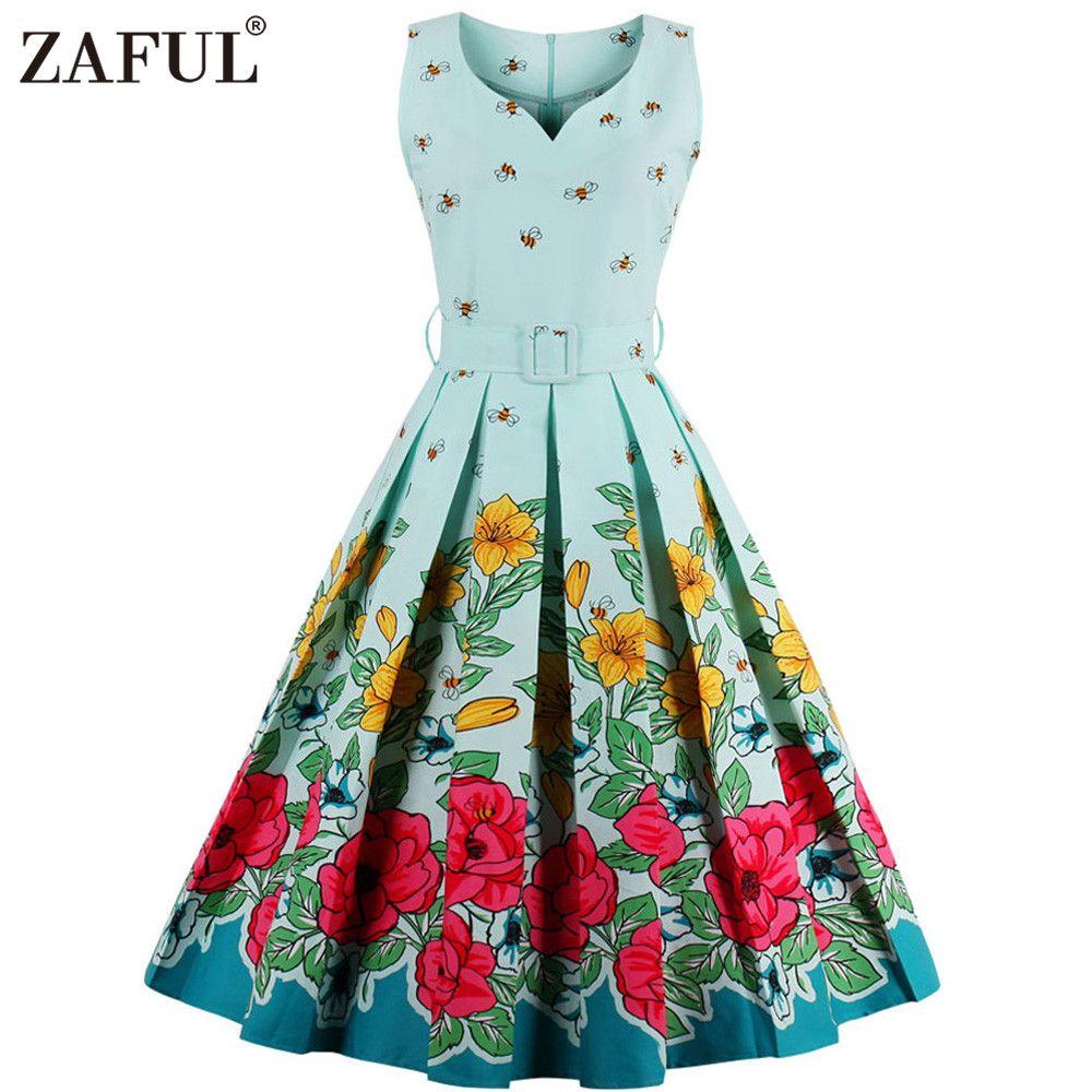 2018 Wholesale Zaful Brand 2017 Vintage V Neck Print Women Dress ...