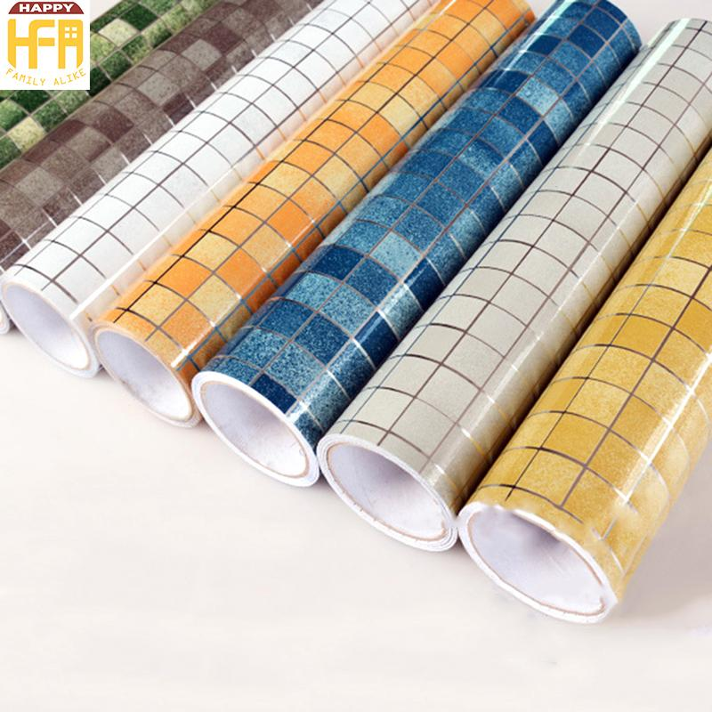 Kitchen wallpaper stickers mosaic tile stove heat resistant oil proof stickers aluminum foil self adhesive wall tile bathroom waterproof download desktop