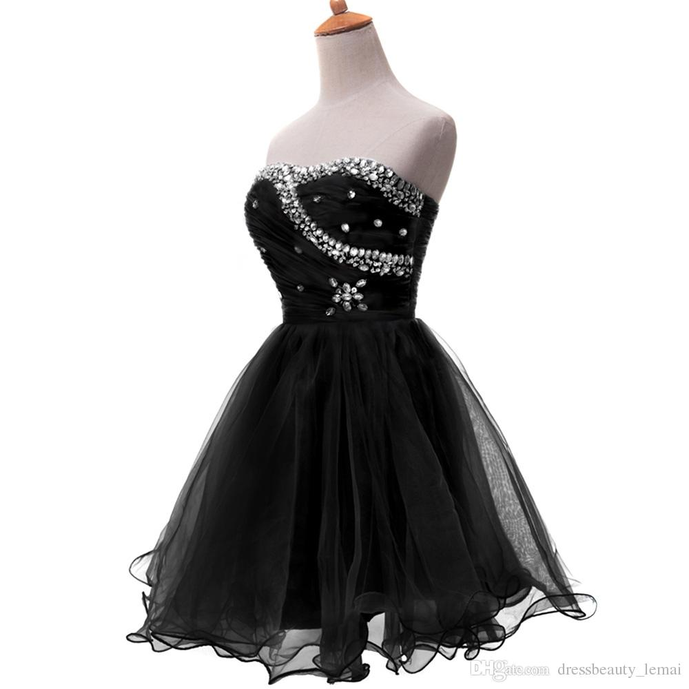 Blue Black White Short Cocktail Dresses Strapless Formal Cute Ball Gown Sexy Party Gown Strapless Prom Dress 2020
