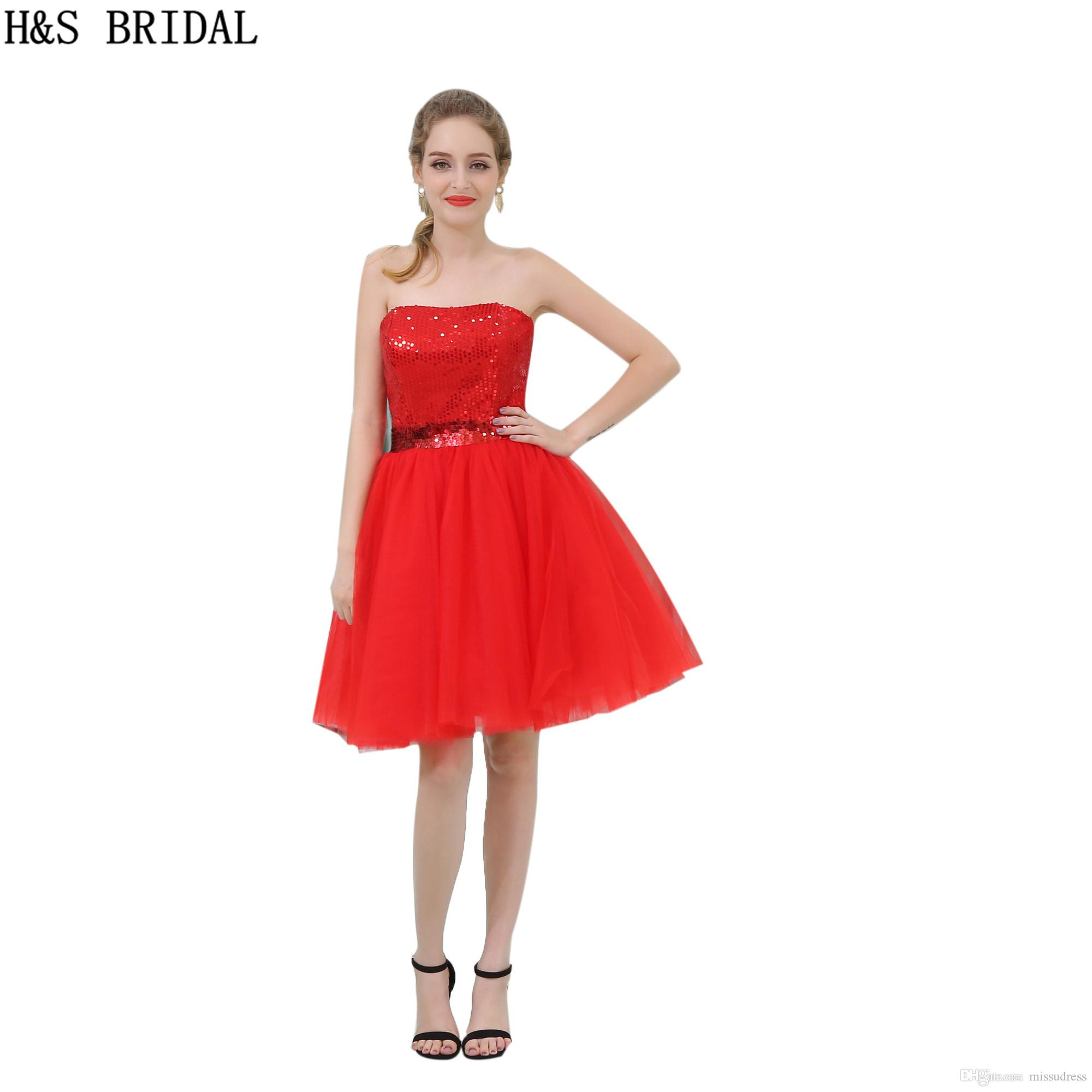 9fc4afe455 Seuiqns Short Prom Dresses Red Strapless Sequins Belt Girls Puffy Party Cocktail  Gowns Evening Dresses B054 Prom Dresses Liverpool Prom Dresses Under 150 ...