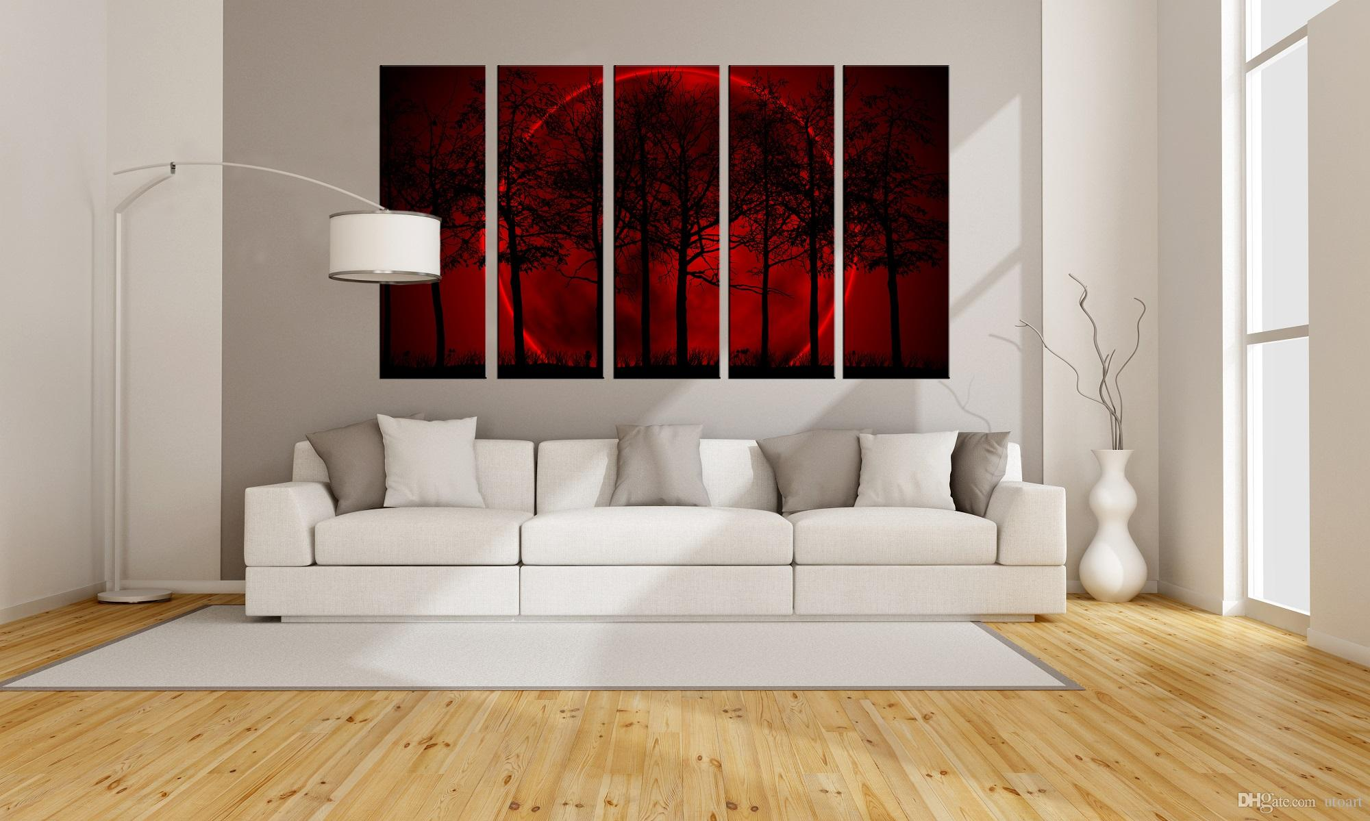 Office wall prints Graphic Designer 2019 Panels Modern Wall Painting Wall Picture Office Wall Decor Painting Of Red Moon Tree Hd Image Giclee Prints For Wholesale From Utoart Dhgate 2019 Panels Modern Wall Painting Wall Picture Office Wall Decor