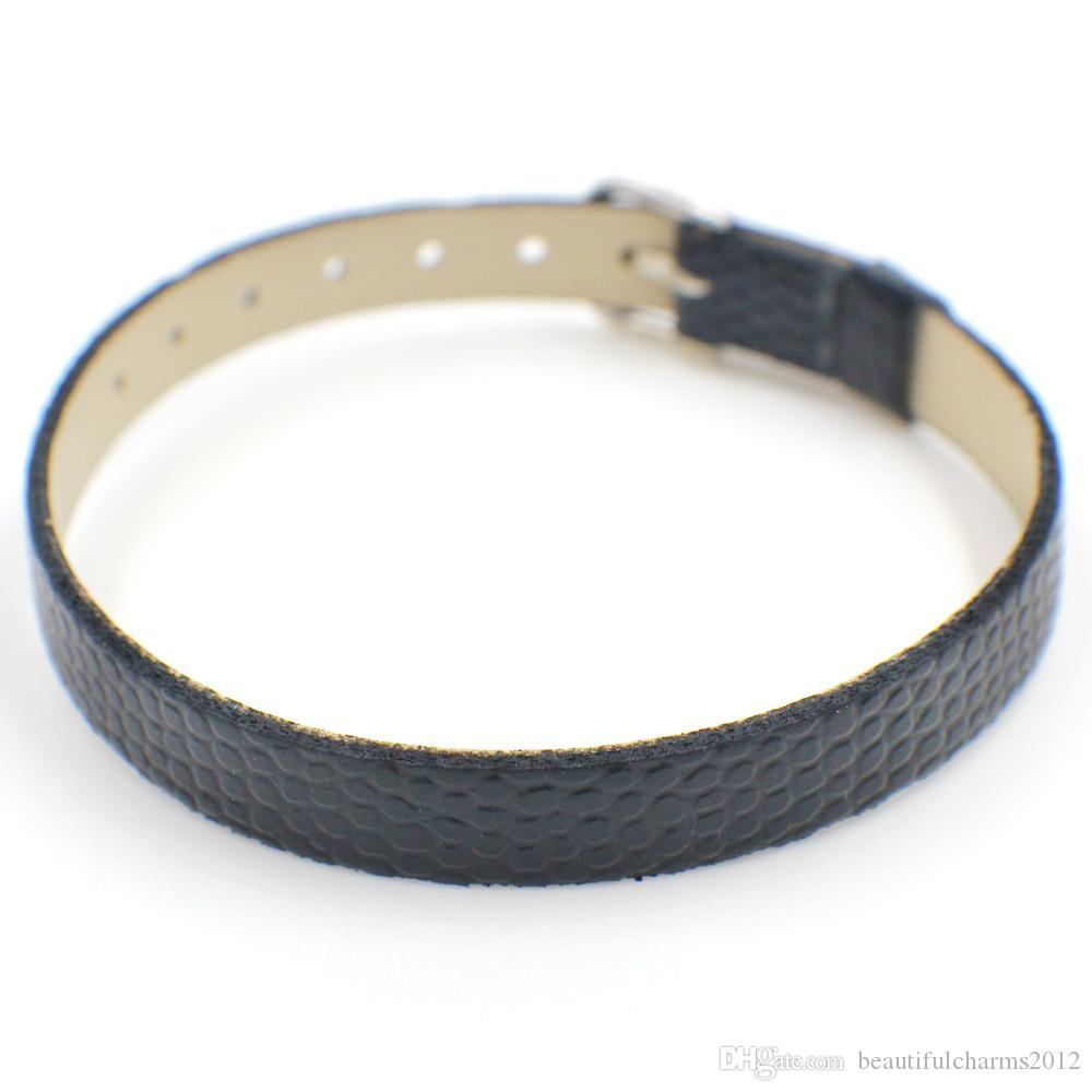 Wholesale 8mm Snake Skin Surface PU Leather wristband bracelet Fit For 8mm diy slide letters