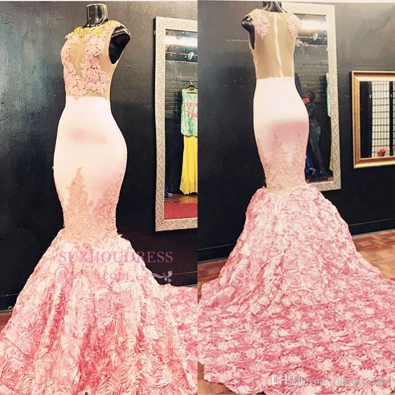 146daa3ba2 Beautiful Pink Appliques Gorgeous Lace Mermaid Prom Dresses 2017 Luxury  Flowers Train Sexy Sheer Illusion Backless Evening Gowns BA5587 Prom Gowns  2015 Quiz ...