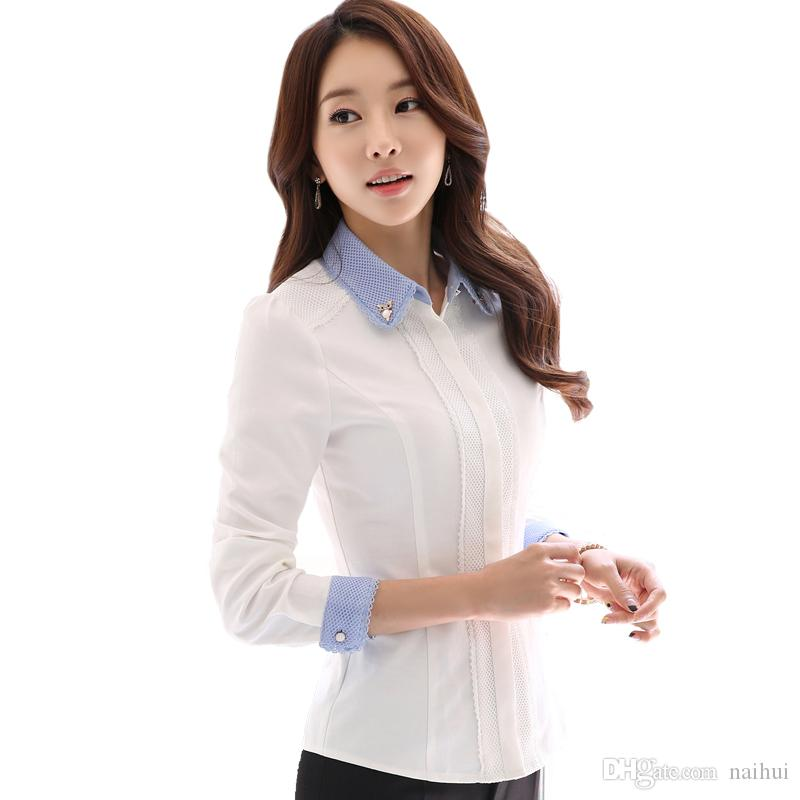 d402c2f0ee0 2019 Women Elegant White Cotton Blouse With Accessories Female Shirts Ladies  Work Wear Office Shirt New Fashion Long Sleeve Tops From Naihui