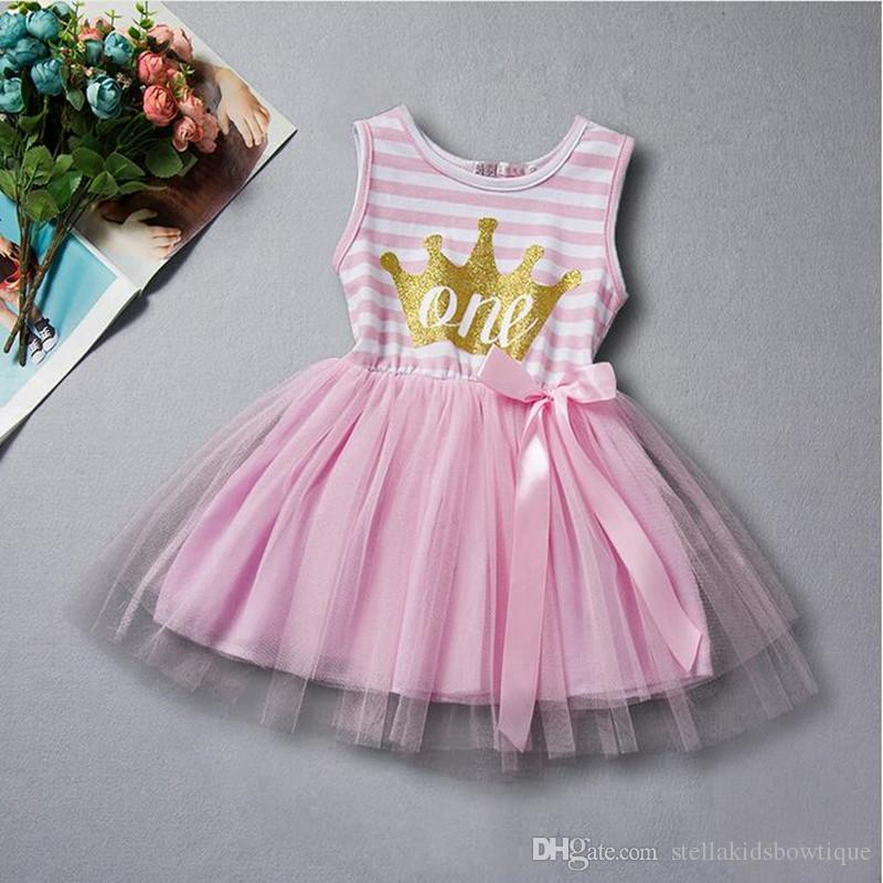 Baby Dress First Birthday Princess Children Clothes Gold Crown Letter Girls Tutu With Bow Toddler Outfit