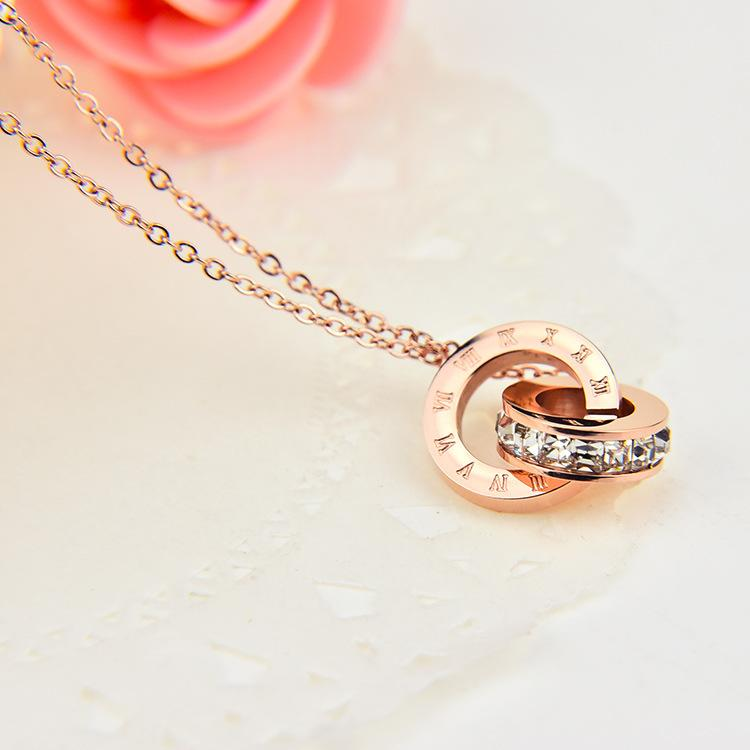 Wholesale small diamond rome digital dual titanium necklace lady wholesale small diamond rome digital dual titanium necklace lady rose gold diamond pendant pendant necklaces for women personalized pendant necklaces from aloadofball Images