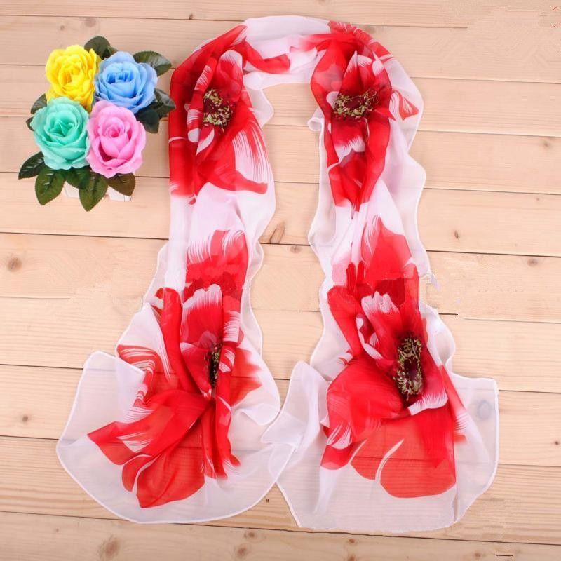 50*160cm Chiffon Scarf Big Flowers Underbrush Long Scarfs For Women Polyester Silk Brand Designer Hijab Wraps Scarves