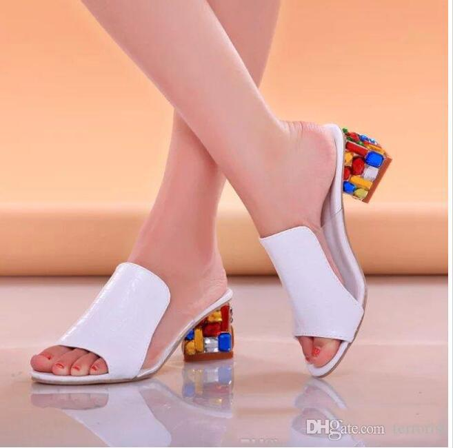 0010c3ed6b50 Rhinestone Sandals Slippers New 2017 Summer Fish Head Diamond Big Yards  Sandals Thick With Female Sandals Platform Shoes Prom Shoes From Terrorist