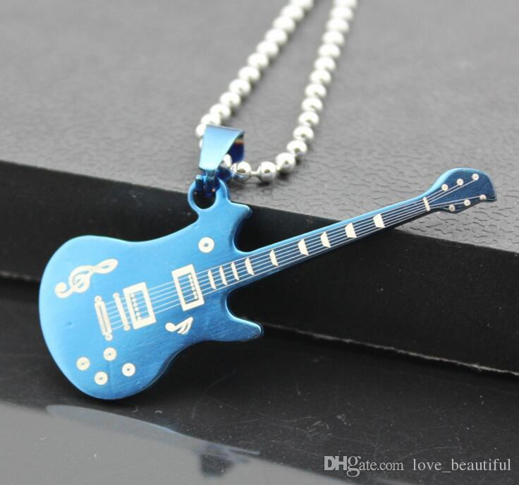 Gift Unisex Men's Stainless Steel Music Guitar charm Pendant Necklace Bead Chain 10%off 2017 Hot sale