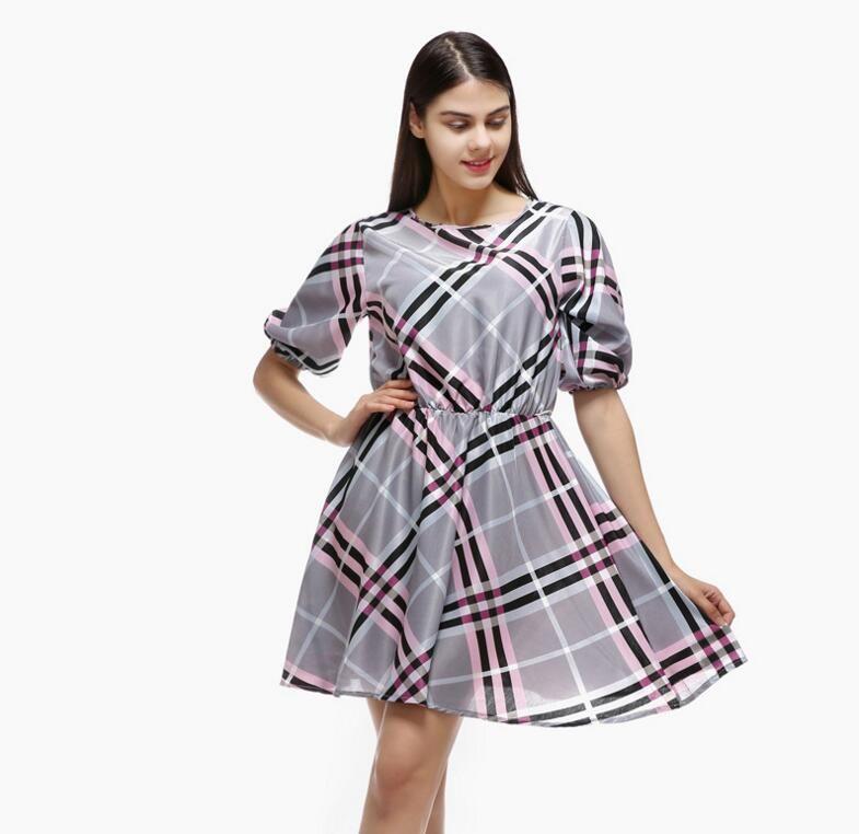 Im Sommer 2019, das Herbst neue Kleid sexy Plaid Kragen halbe Ärmel Kleid lässig Hemd Rock Prinzessin Kleid