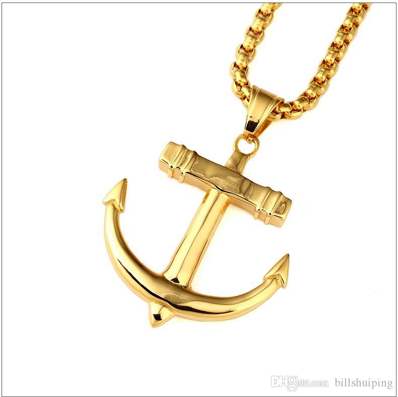 حار بيع جديد أزياء الرجال خمر قلادة مطلية بالذهب بحري سحر قلادة كولير مجوهرات شحن مجاني