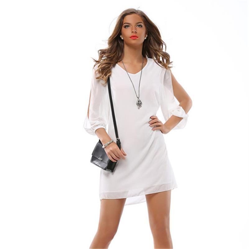 2017 Women Dress Summer Long Sleeve Casual Mini V Neck Solid Loose
