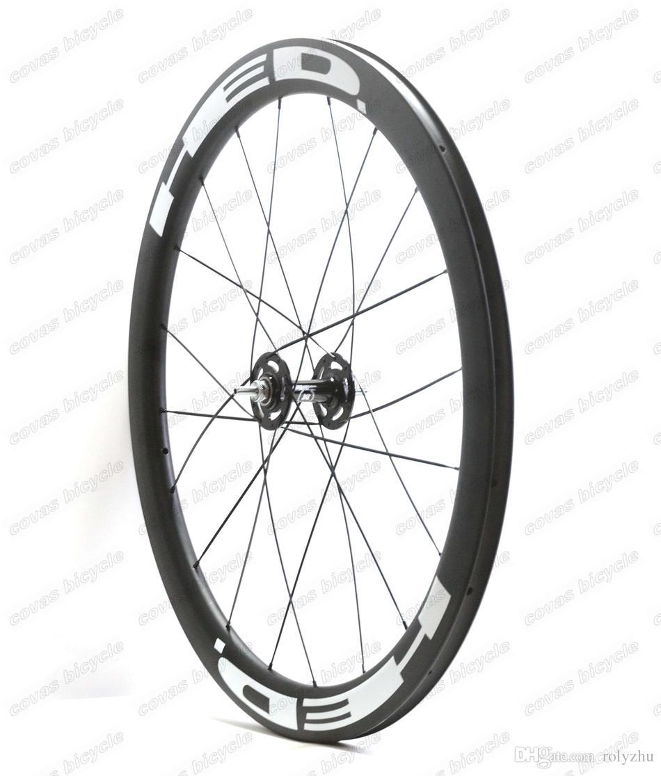 Envío gratis 700c 50mm profundidad 25mm ancho clincher ruedas de carbono rueda de la pista engranaje fijo de una sola velocidad juego de ruedas con el eje Novatec 165/166
