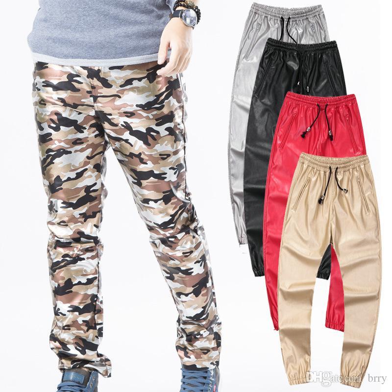 Vêtements en gros-hip-hop urbain vêtements kanye west swag pantalons de danse garçons joggers noir mode hommes vêtements grande taille pantalons en cuir