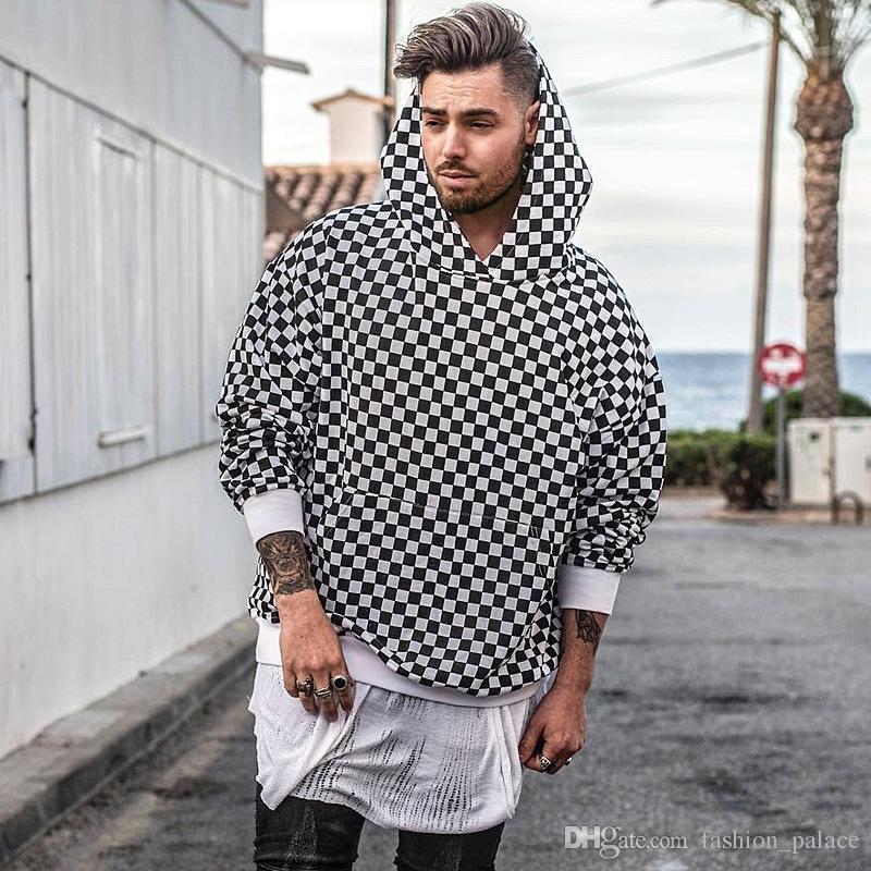 Weiß Schwarz Karierter Hoodie Neuer Stil Männer Frauen Liebhaber Streetwear Langarm Kapuzen Baumwoll Sweatshirt Lose Beiläufige Pullover Mantel