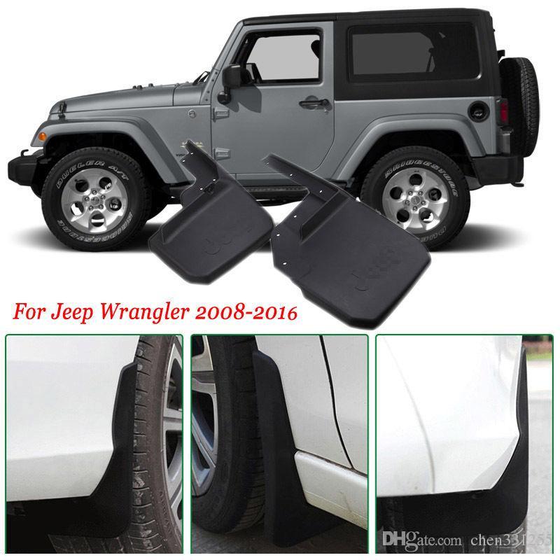 4x Frente / Traseira Do Carro Mud Flaps Respingo Guarda Mudguard Mudflaps Carro Fender Para Jeep Wrangler 2008-2017