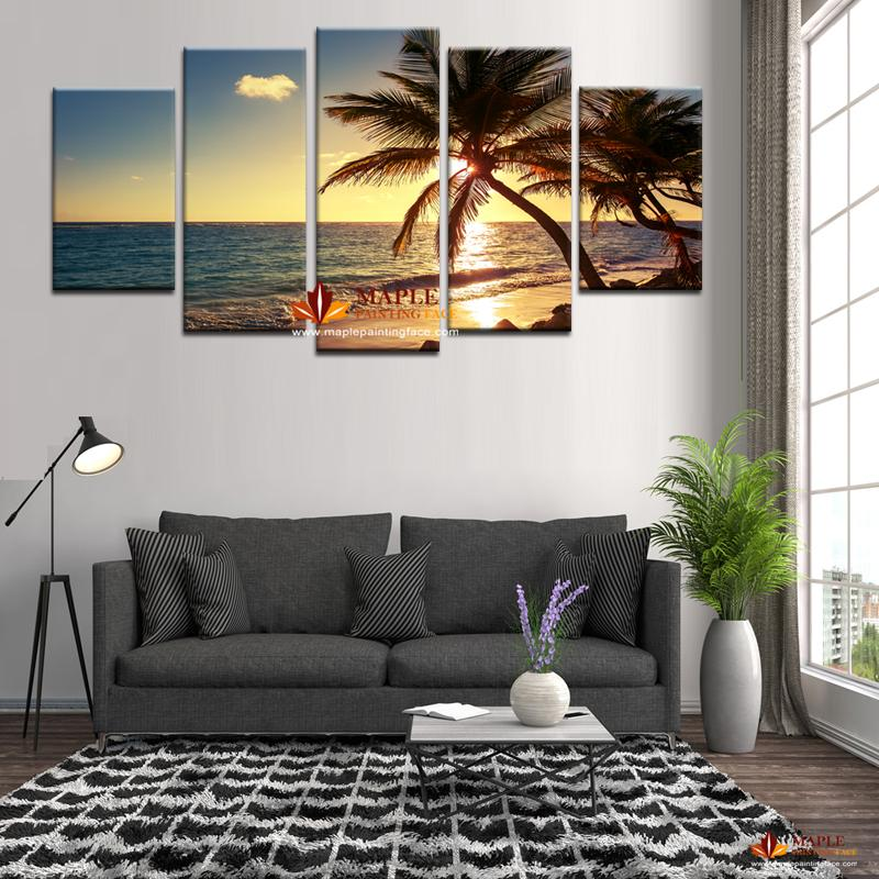 Unframed Beach coconut tree Modern Home Wall Decor Canvas Picture Art HD Print Painting On Canvas Artworks