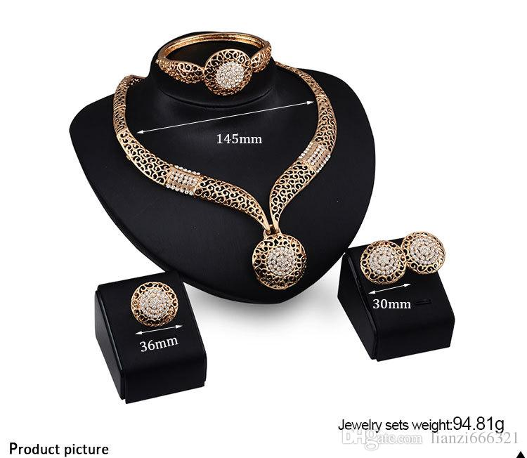 Fashion exaggeration Crystal Rhinestone CZ Necklace Earrings Rings Bracelets Jewelry Sets Wedding party Accessories Bridal Jewelry Set HJ136